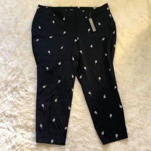LOFT Navy Rose Skinny Pants 20